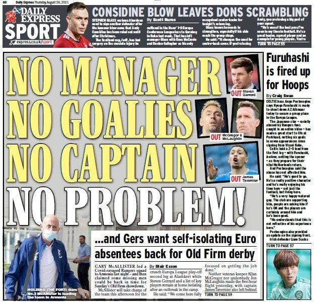 The back page of the Scottish Daily Express on 260821