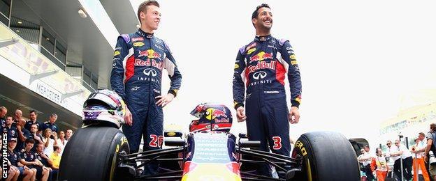 Red Bull drivers Daniil Kvyat and Daniel Ricciardo