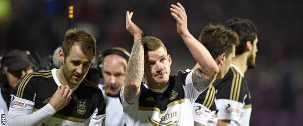 Aberdeen's Niall McGinn and Jonny Hayes celebrate
