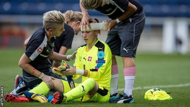 Switzerland goalkeeper Gaelle Thalmann ended the game wearing a head bandage