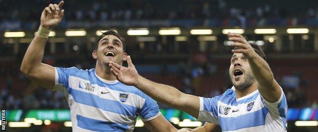 Argentina flanker Pablo Matera (left) and scrum-half Martin Landajo celebrate victory over Ireland
