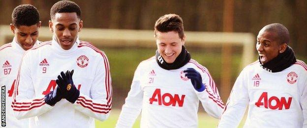 Ander Herrera with Marcus Rashford, Anthony Martial and Ashley Young