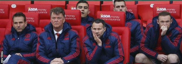 Wayne Rooney on the substitutes' bench at Stoke