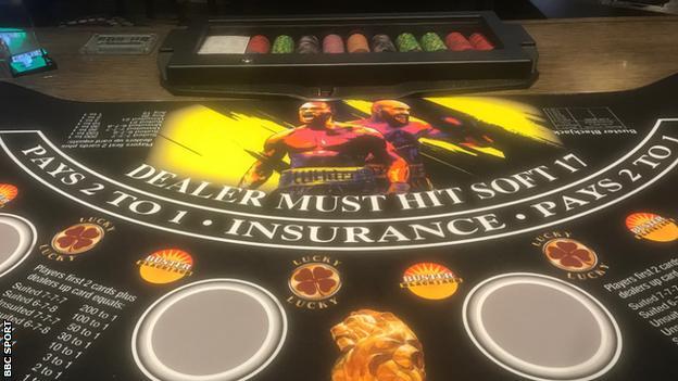 A Las Vegas blackjack table promoting the Fury v Wilder fight