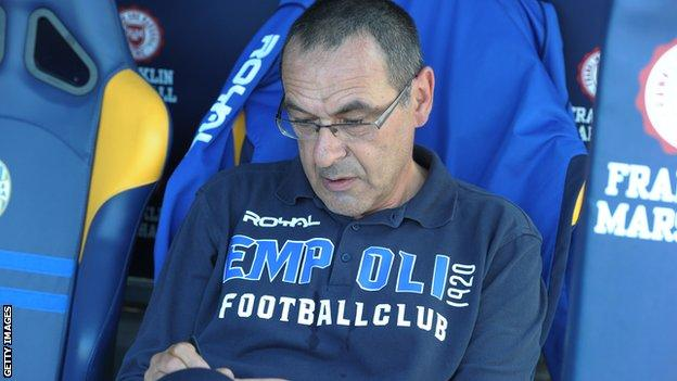 Maurizio Sarri on the bench when manager of Empoli