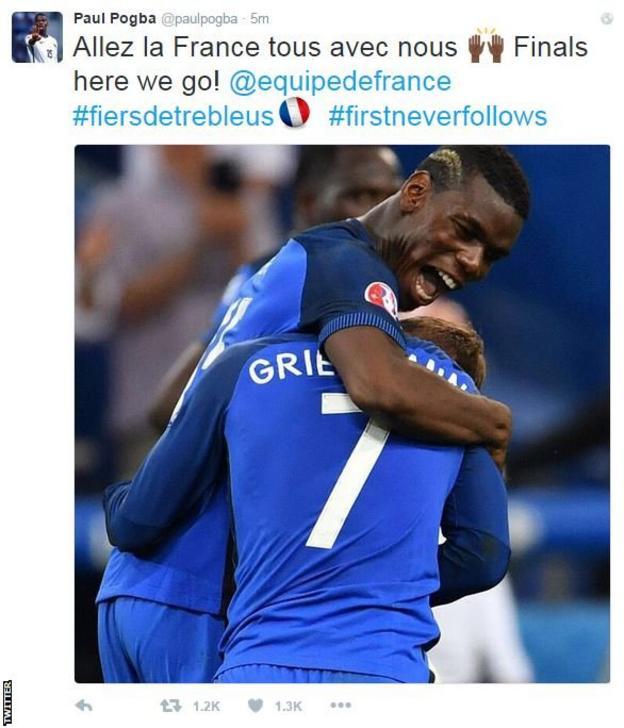 Paul Pogba celebrates France's Euro 2016 semi-final victory