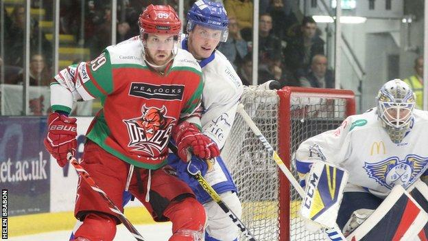 Cardiff Devils' Mike McNamee in action against Fife Flyers