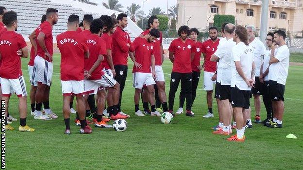 Michel Salgado working with the Egypt nationa team