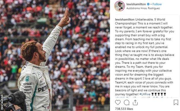 Instagram post by Lewis Hamilton after winning the 2018 F1 world championship, saying 'this is a moment I will never forget'