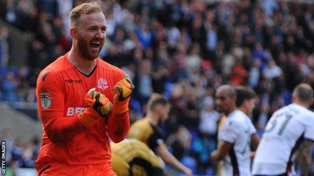 Bolton goalkeeper Ben Alnwick celebrates