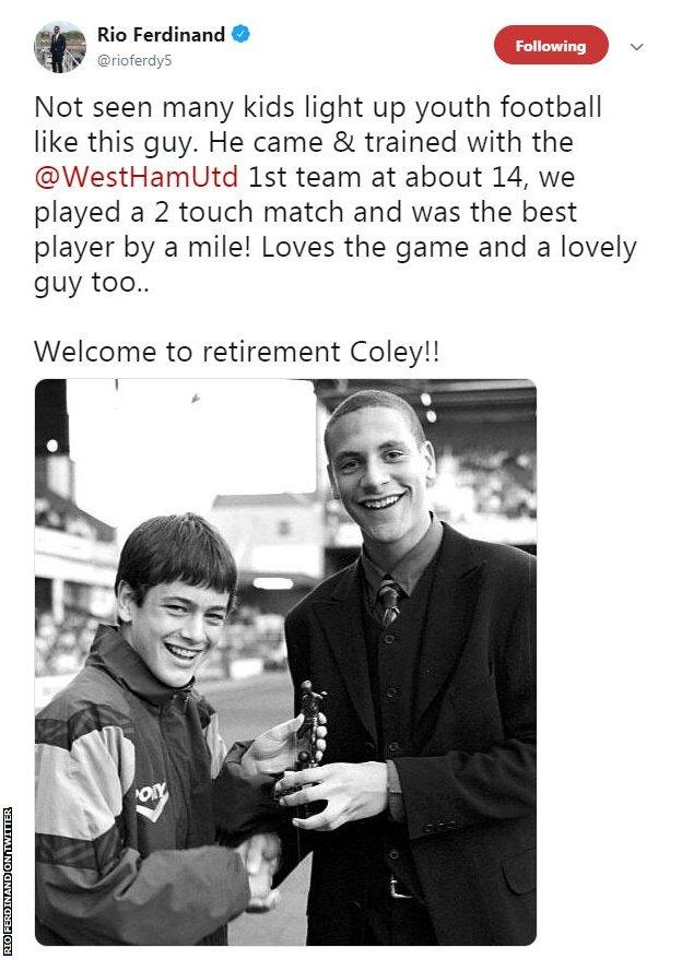A young Joe Cole (left) and Rio Ferdinand during their days at West Ham