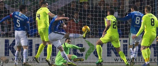 Chris Kane (centre) gives St Johnstone a first-half lead