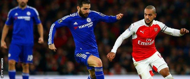 Theo Walcott in action against Chelsea