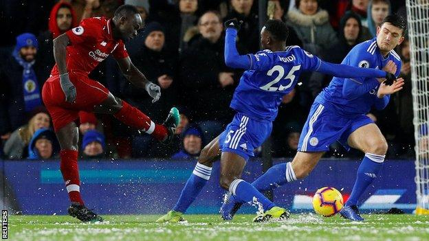 Liverpool's Sadio Mane has a shot during the 1-1 draw with Leicester at Anfield