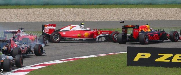 The two Ferraris collide at the Chinese Grand Prix