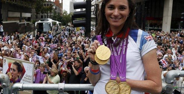 Dame Sarah Storey celebrates her success at the 2012 Games