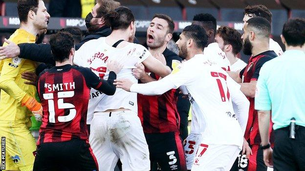 Bournemouth and Watford players clash