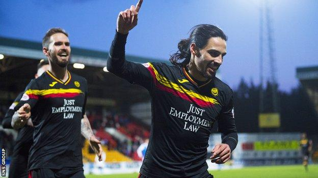 Partick Thistle's Ryan Edwards celebrates after making it it 3-1 to the visitors