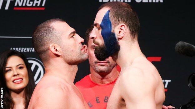 Craig (right) fights Gadzhimurad Antigulov on 25 July