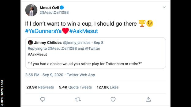 Mesut Ozil says he'd go to Spurs if he didn't want to win trophies