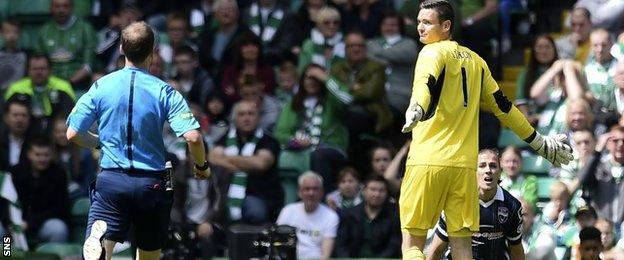 Craig Gordon remonstrates with referee Willie Collum