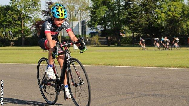 Elena McGorum practising on her road bike before the Youth Tour of Scotland