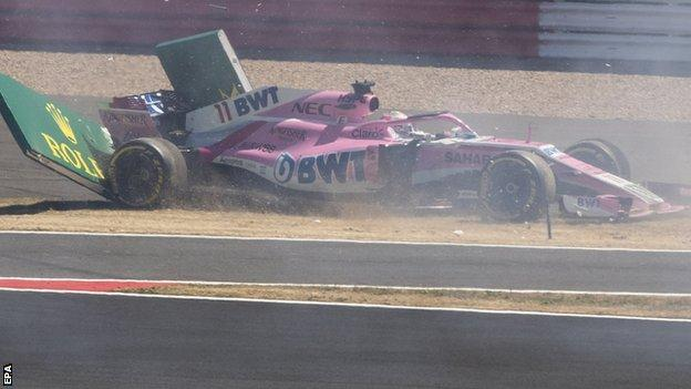 Sergio Perez spins off during the British Grand Prix