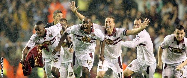 Northampton Town players celebrate