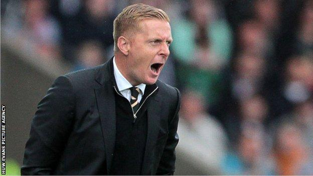 Swansea manager Garry Monk shouts at his team