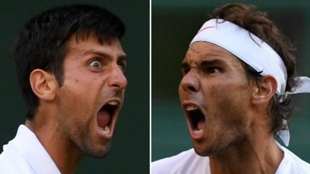 102499114 djoko nadal - Rafael Nadal and Novak Djokovic will renew rivalry in Wimbledon semi-finals