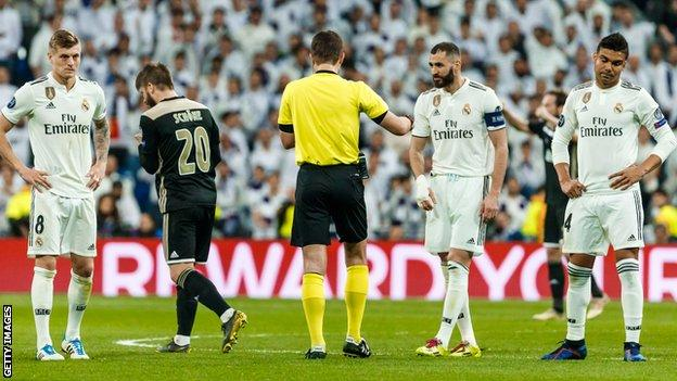 Real Madrid looking disheartened after losing to Ajax in the Champions League