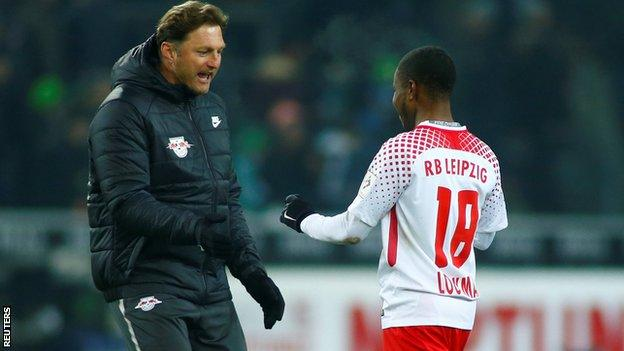 RB Leipzig coach Ralph Hasenhuettl celebrated with Ademola Lookman after the win