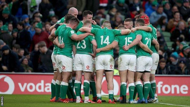 Ireland players during this year's Six Nations game against Wales