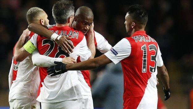 Monaco celebrate knocking Arsenal out of the Champions League