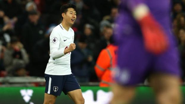 Son Heung-min celebrates scoring for Tottenham against Stoke