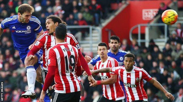 Branislav Ivanovic heads in Chelsea's winner at Southampton