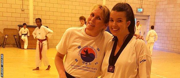 Joanne at her taekwondo club