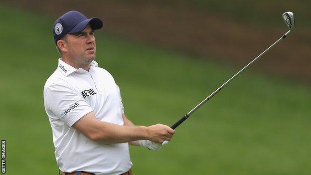 Richie Ramsay hits a shot at the PGA Championship golf