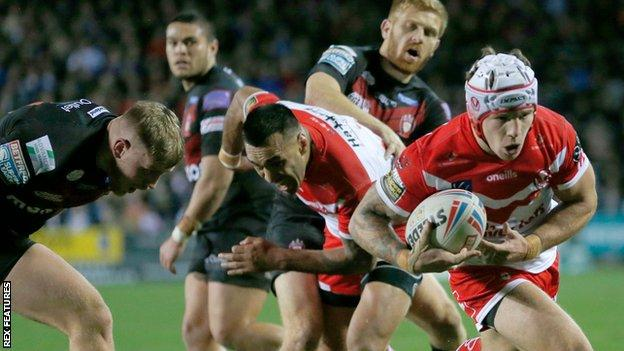 Theo Fages scores a try for St Helens