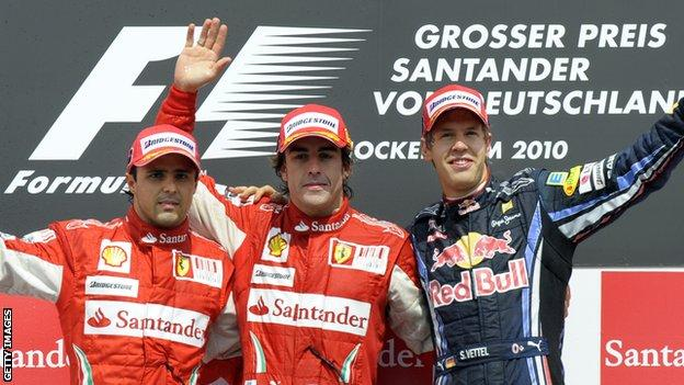 Fernando Alonso, Felipe massa and Sebastian Vettel