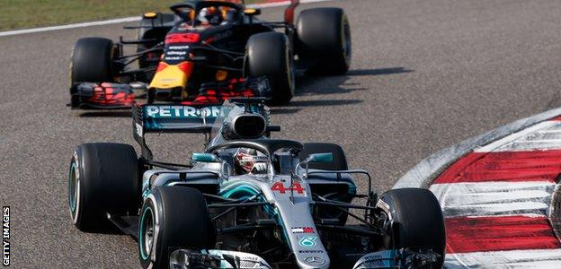 Max Verstappen and Lewis Hamilton during the Chinese Grand Prix