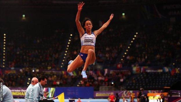 Katarina Johnson-Thompson competes in the long jump