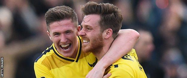 Oxford's John Lundstram, left, joined from Everton in the summer and he produced an accomplished midfield display - making more passes and winning more tackles than any of his team-mates, while making four interceptions and winning the ball back 12 times in total