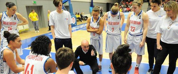 Head coach Jose Maria Buceta and GB basketball
