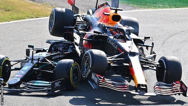 Max Verstappen and Lewis Hamilton collide