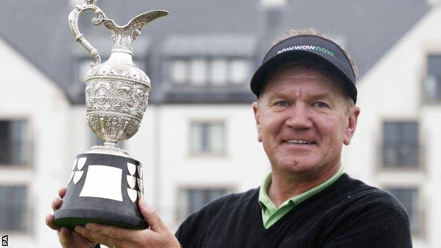 Paul Broadhurst holds aloft the Senior Open trophy