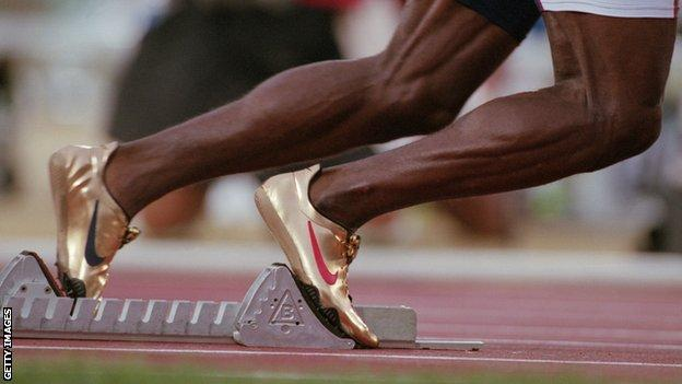 Michael Johnson's gold running shoes