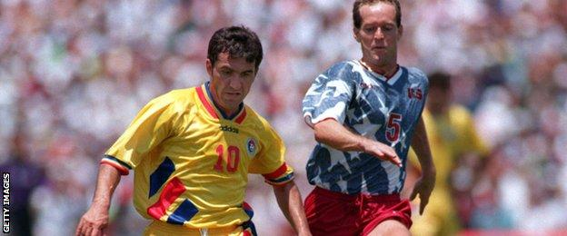 Gheorghe Hagi in action at the 1994 World Cup
