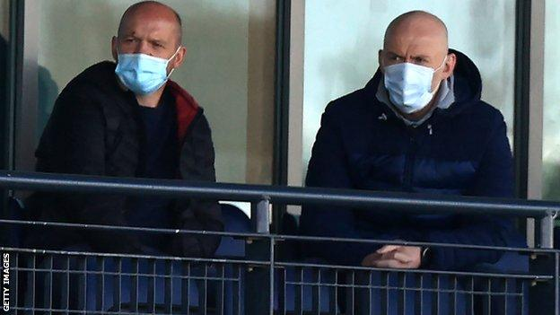 Gregor Townsend and Steve Tandy watch Doncaster v Saracens