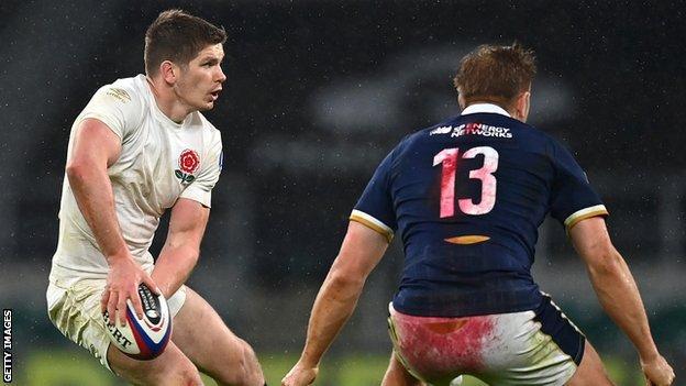 England's Owen Farrell playing against Scotland